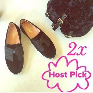 HP✨NEW Kate Spade Delise Too Black Velvet sneakers